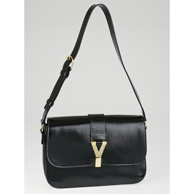 Yves Saint Laurent Black Patent Leather Large ChYc Flap Bag