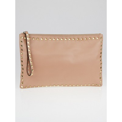 Valentino Beige Nappa Leather Rockstud Large Clutch Bag