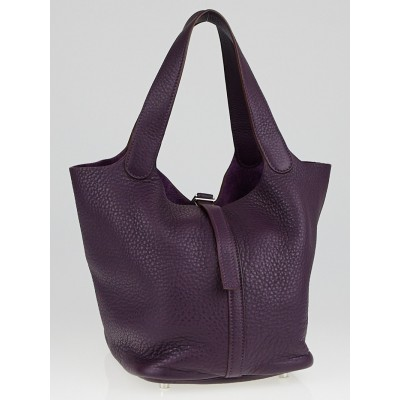 Hermes Raisin Clemence Leather Picotin MM Bag
