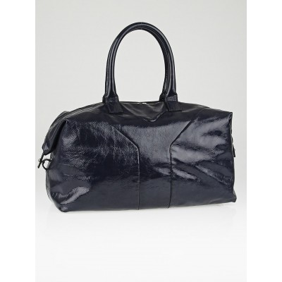 Yves Saint Laurent Navy Blue Patent Leather Easy Y Zip Tote Bag