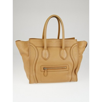 Celine Camel Pebbled Leather Mini Luggage Tote Bag