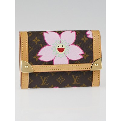 Louis Vuitton Limited Edition Brown Cherry Blossom Monogram Canvas Porte Monnaie Plat