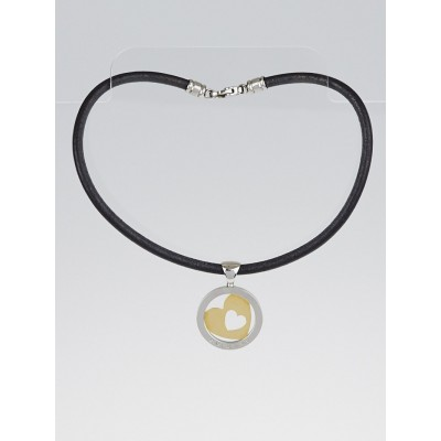 Bvlgari Stainless Steel and 18k Yellow Gold Tondo Heart Pendant Necklace