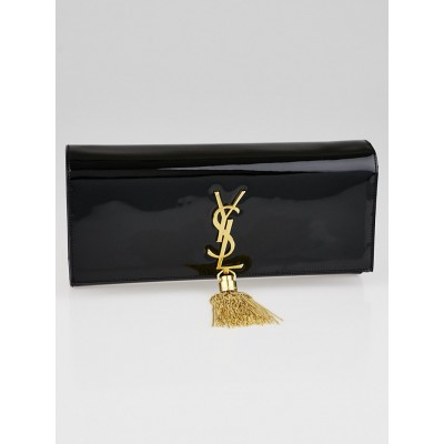 Yves Saint Laurent Black Patent Leather Cassandre Tassel Clutch Bag