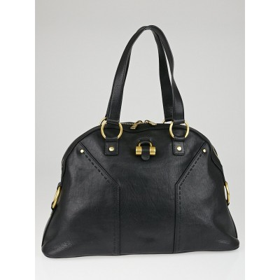 Yves Saint Laurent Black Calfskin Leather Large Muse Bag