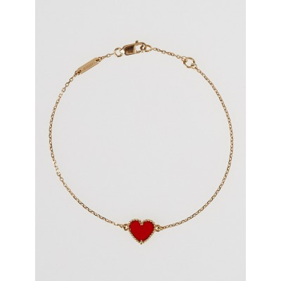 Van Cleef & Arpels 18k Rose Gold and Carnelian Sweet Alhambra Heart Bracelet