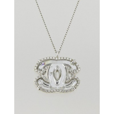 Chanel Silvertone and Crystal CC Pendant Necklace