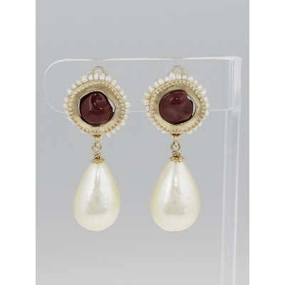Chanel Goldtone Metal and Burgundy Stone Faux Pearl Drop Clip-On Earrings