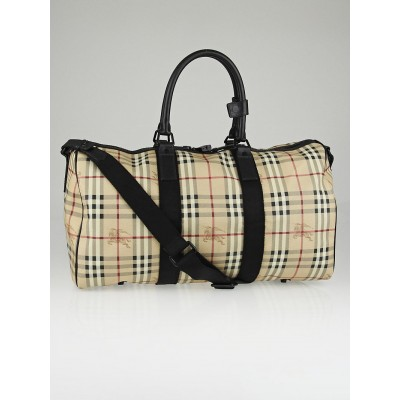 Burberry Haymarket Check Coated Canvas Travel Duffel Bag