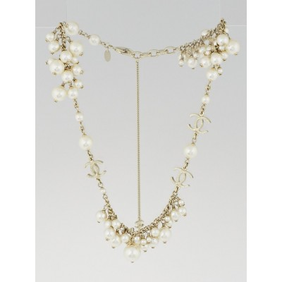 Chanel Glass Pearl and Goldtone Chain CC Cluster Necklace