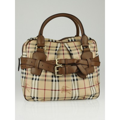 Burberry Brown Leather Haymarket Check Coated Canvas Top Handle Bag