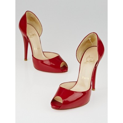 Christian Louboutin Red Patent Leather Madame Claude 120 Peep-Toe Pumps Size 6.5/37