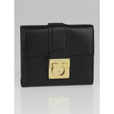 Salvatore Ferragamo Black Calfskin Leather Compact Wallet