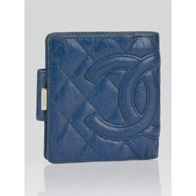 Chanel Blue Quilted Ligne Cambon Compact French Purse Wallet