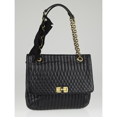 Lanvin Black Quilted Leather Happy Medium Bag