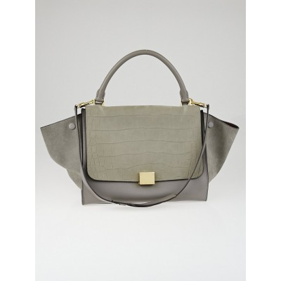Celine Grey Crocodile Stamped Nubuck and Smooth Leather Medium Trapeze Bag