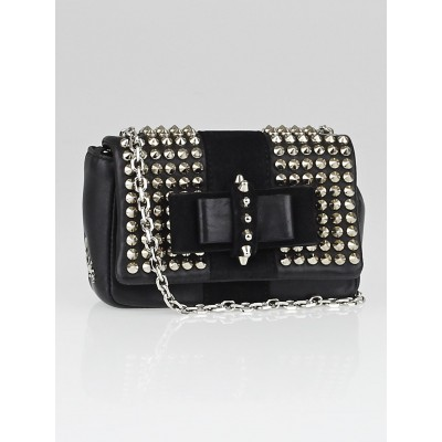 Christian Louboutin Black Leather Mini Sweet Charity Spikes Bag