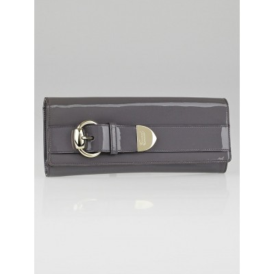 Gucci Lavender Patent Leather Large Buckle Clutch Bag