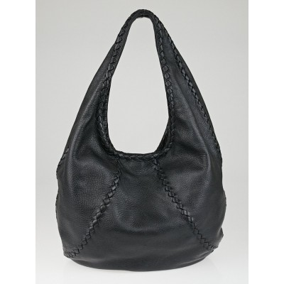 Bottega Veneta Black Cervo Leather Large Baseball Hobo Bag