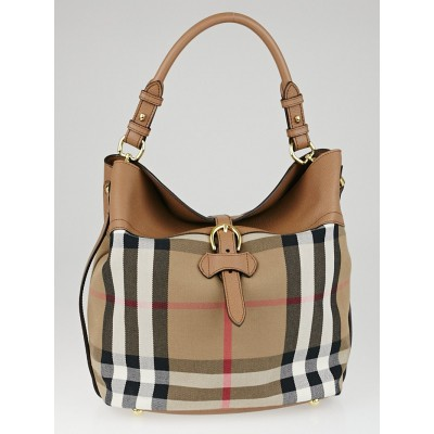 Burberry Dark Sand Leather and House Check Canvas Medium Sycamore Hobo Bag