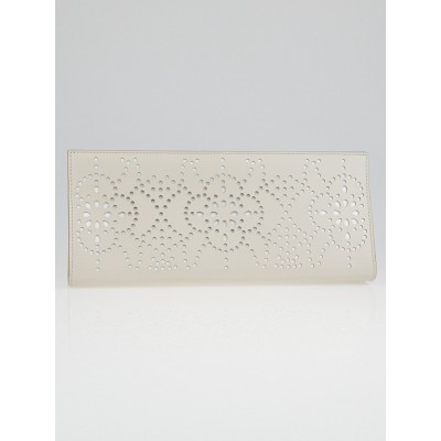 Alaïa Perle/White Laser Cut Leather Clutch Bag