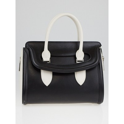 Alexander McQueen Black/White Leather Small Heroine Bag