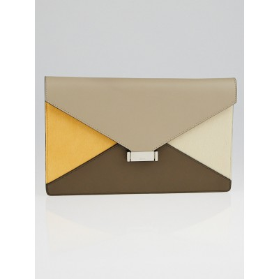 Celine Saffron Pony Hair and Leather Diamond Clutch Bag