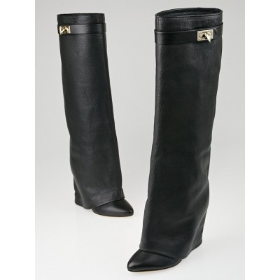Givenchy Black Pebbled Leather Shark Lock Tall Boots Size 7/37.5