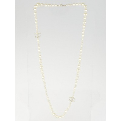 Chanel Glass Pearl Double CC Logo Long Necklace