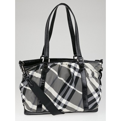 Burberry Black Beat Check Nylon Madison Diaper Bag