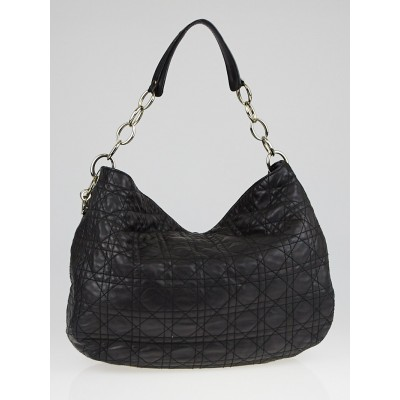 Christian Dior Black Cannage Quilted Leather Dior Soft Medium Hobo Bag