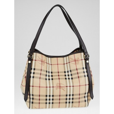 Burberry Brown Leather Haymarket Check Coated Canvas Canterbury Tote Bag