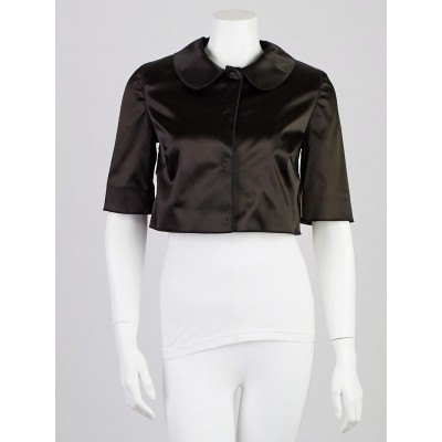 Dolce & Gabbana Black Acetate Blend Cropped Jacket Size 6/40