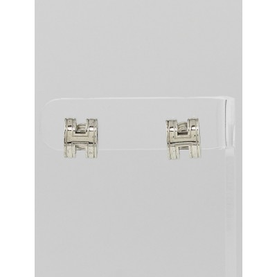 Hermes Palladium Plated Pop H Stud Earrings