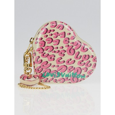 Louis Vuitton Limited Edition Blanc Corail Monogram Vernis Leopard Heart Coin Purse
