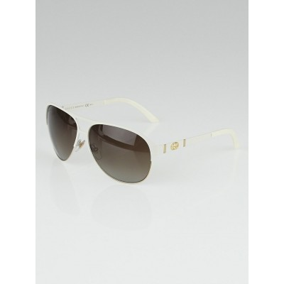 Gucci White Metal Frame Aviator Sunglasses - 4233