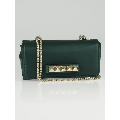Valentino Green Leather Rockstud Va Va Voom Clutch Bag