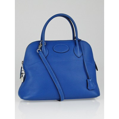Hermes 31cm Blue Hydra Clemence Leather Palladium Plated Bolide Bag