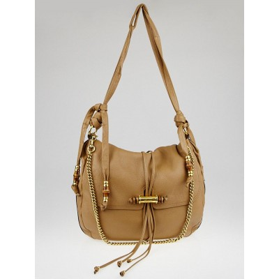 Gucci Beige Pebbled Leather Large Jungle Hobo Bag