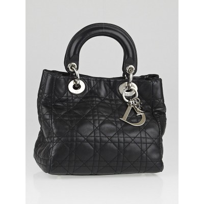 Christian Dior Black Cannage Quilted Lambskin Leather Mini Soft Lady Dior Bag