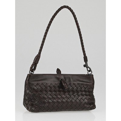 Bottega Veneta Ebony Intrecciato Woven Leather Frame Pochette Bag