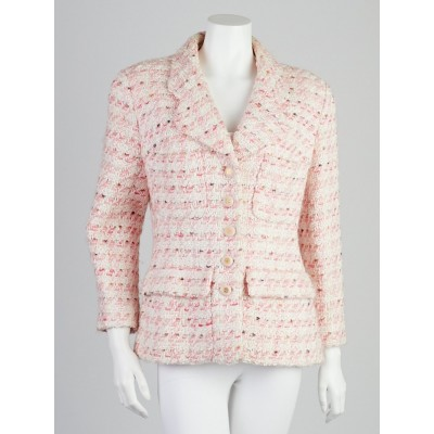 Chanel Light Pink Knitted Tweed Jacket Size L