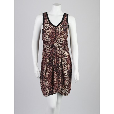 Isabel Marant Etoile Leopard Print Silk Sleeveless Dress Size 2