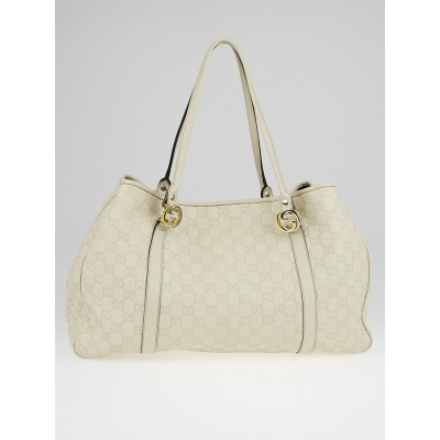 Gucci Dark White Guccissima Leather GG Twins Medium Tote Bag