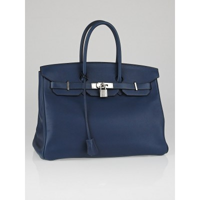 Hermes 35cm Bleu de Prusse Swift Leather Palladium Plated Birkin Bag
