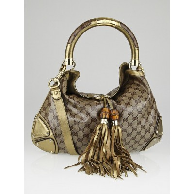 Gucci Beige/Gold GG Crystal Coated Canvas Medium Babouska Indy Top Handle Bag