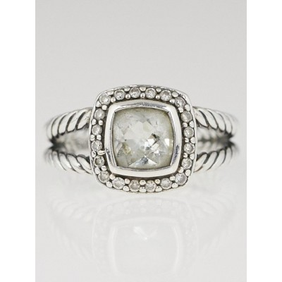 David Yurman 7mm Sterling Silver and White Topaz with Diamonds Petite Albion Ring Size 7