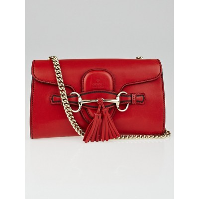 Gucci Red Leather Small Emily Chain Shoulder Bag