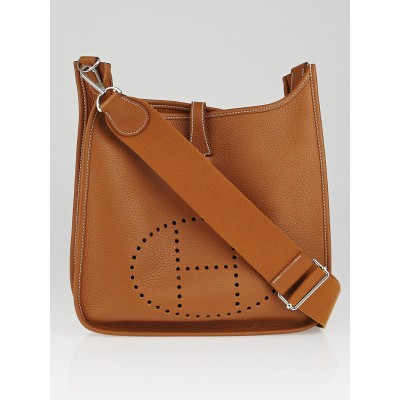 Hermes Gold Clemence Leather Evelyne III PM Bag