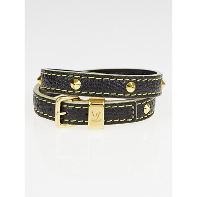 Louis Vuitton Black Suhali Leather Double Coiled Bracelet